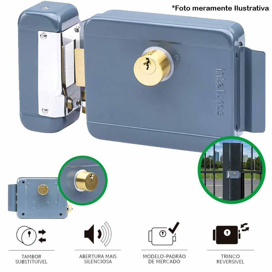 Fechadura Elétrica de Sobrepor Intelbras FX 2000 - Trinco Reversível com Abertura Direita ou Esquerda, Furação HDL e Tambor Substituível