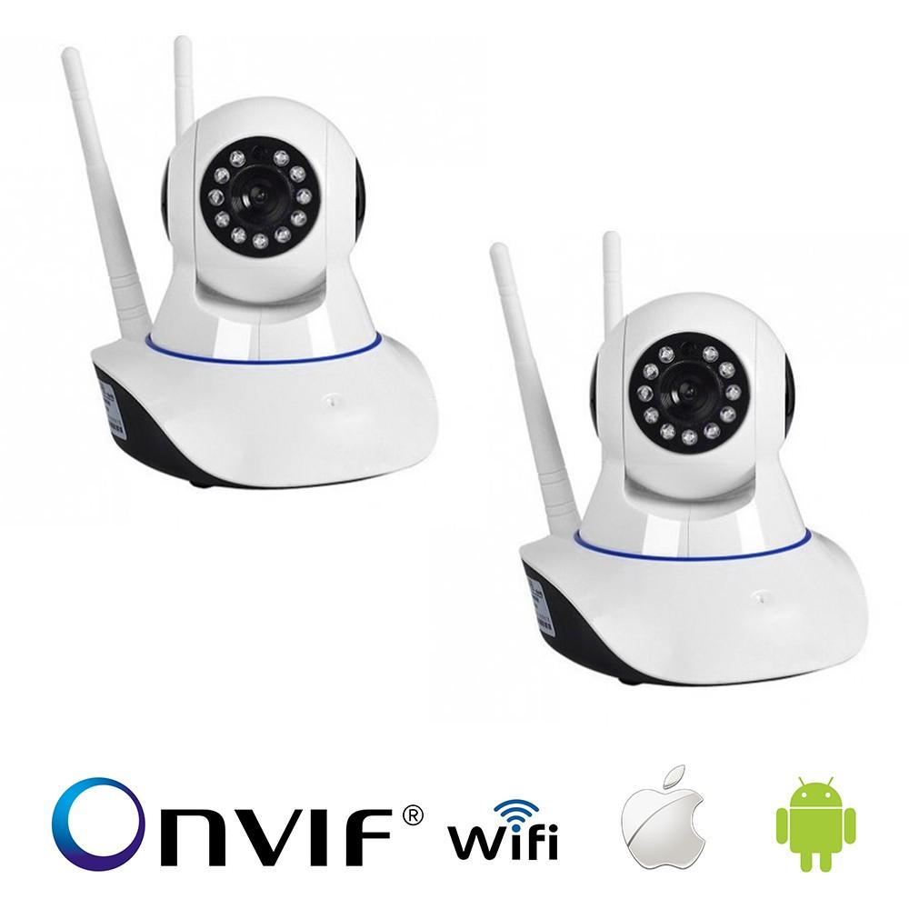 KIT 2 Câmera IP Sem Fio Wifi HD 720p Robo Wireless, Com áudio, Grava em Cartão SD, com 2 Antenas e Visão Noturna
