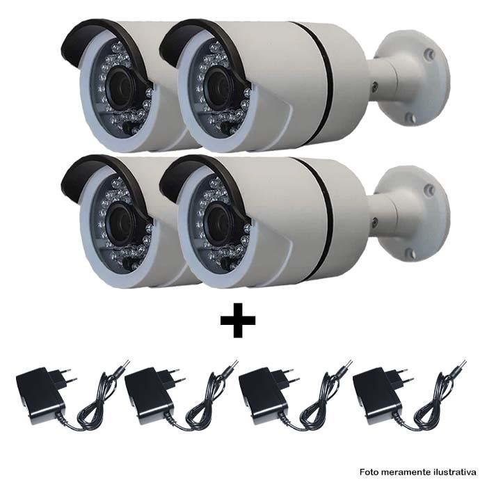 KIT 4 Câmera IR CUT Bullet  Infravermelho 1500 TVL 1/3 3,6MM + Fonte