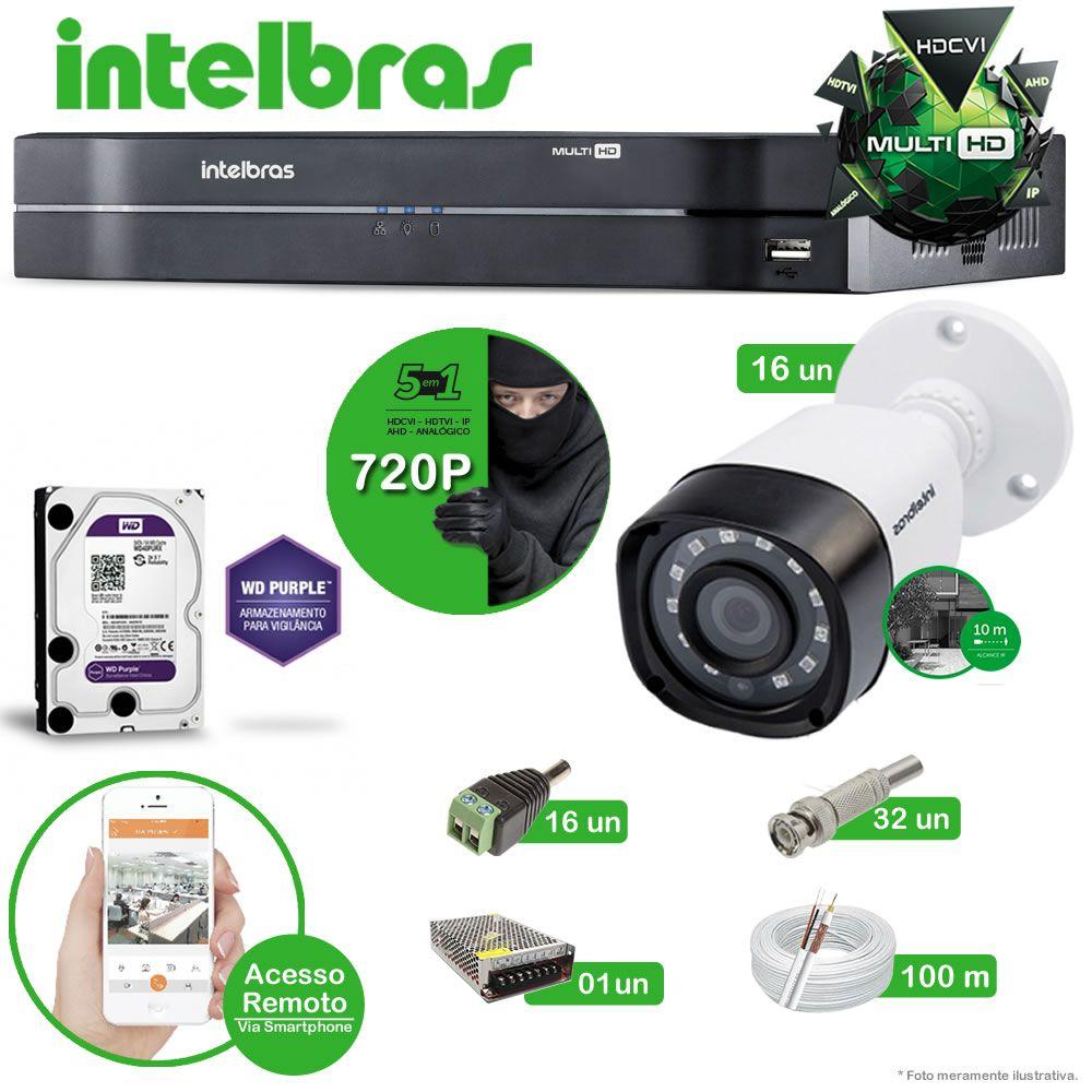 Kit Cftv 16 Câmeras Multi HD VHD 1010B Bullet Infravermelho 3,6MM 720p Dvr 16 Canais Intelbras MHDX 5 em 1 AHD, HDCVI, HTVI E ANALOGICO E IP + HD Western Digital Purple 2TB