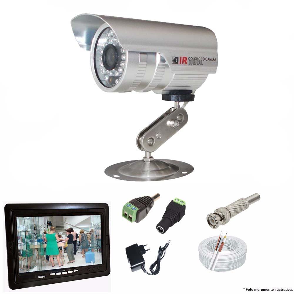 KIT CFTV 1 Câmeras CCD Infravermelho 1200 TVL 3,6MM + Monitor 7