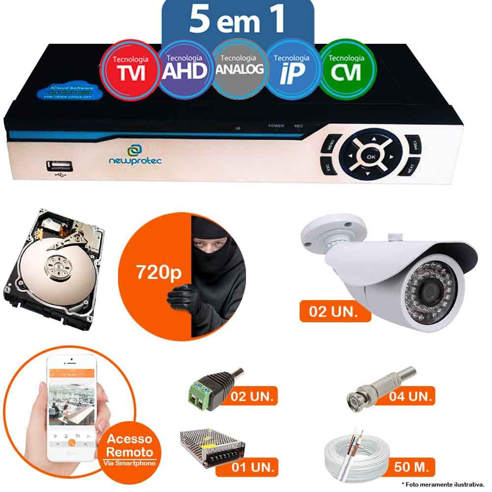 Kit Cftv 2 Câmeras AHD-M 7007 BULLET 3,6MM 1.3MP 720p Dvr 4 Canais Newprotec 5 em 1 AHD, HDCVI, HDTVI E ANALOGICO E IP + HD 500GB + MICROFONE