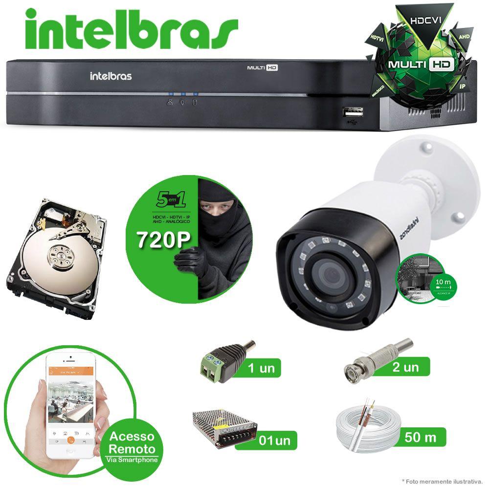 Kit Cftv 2 Câmeras Multi HD VHD 1010B Bullet Infravermelho 3,6MM 720p Dvr 4 Canais Intelbras MHDX 5 em 1 AHD, HDCVI, HTVI E ANALOGICO E IP + HD 1TB