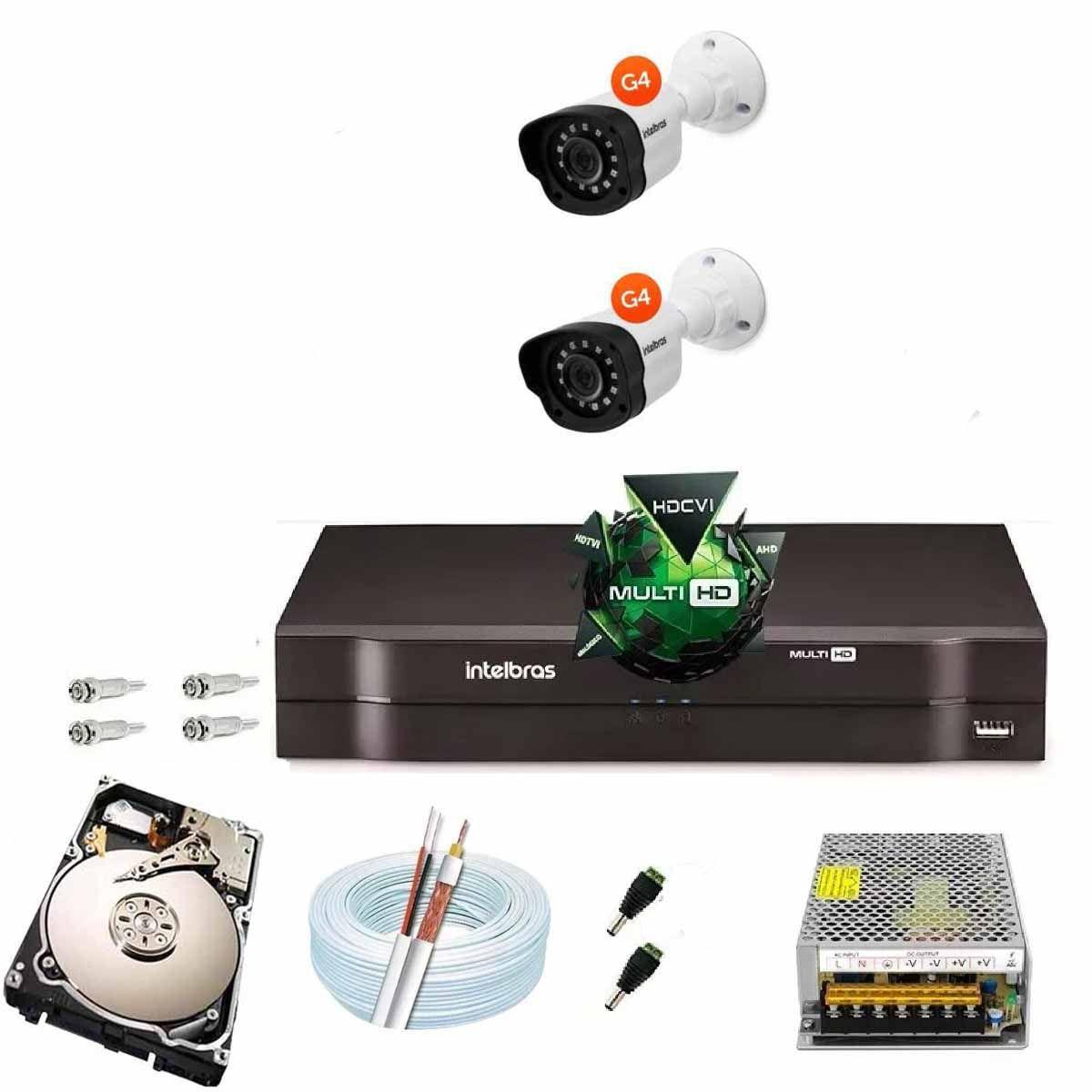 Kit Cftv 2 Câmeras VM 1120B Bullet G4 720p Dvr 4 Canais Intelbras MHDX + HD 250GB