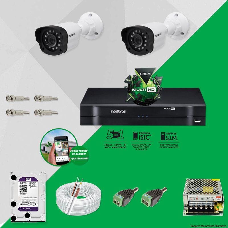Kit Cftv 2 Câmeras VM 1120B Bullet G4 720p Dvr 4 Canais Intelbras MHDX + HD WDP 1TB