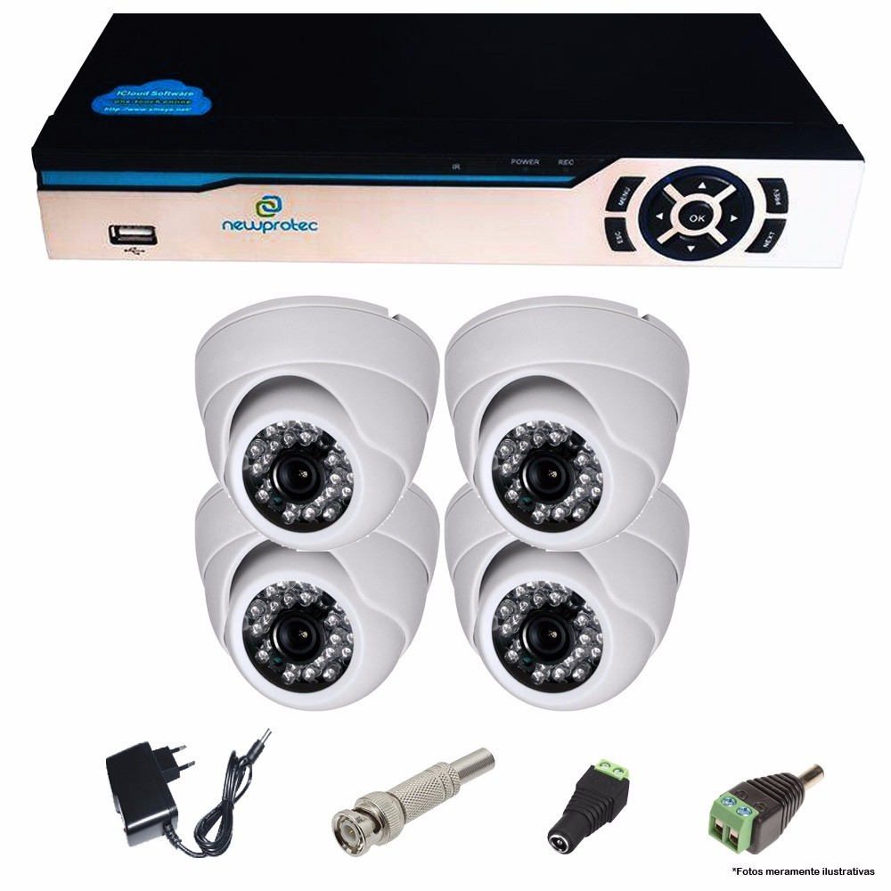 Kit Cftv 4 Câmeras Dome CCD Infravermelho 3,6MM 1200TVL Dvr 4 Canais Newprotec