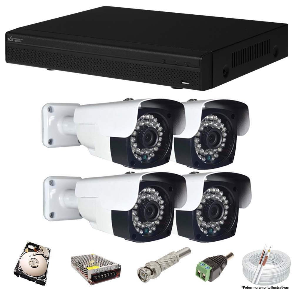 KIT CFTV 4 Câmeras AHD 2.0Mp + DVR 4 Canais VISIONBRAS com HD 500GB Completo