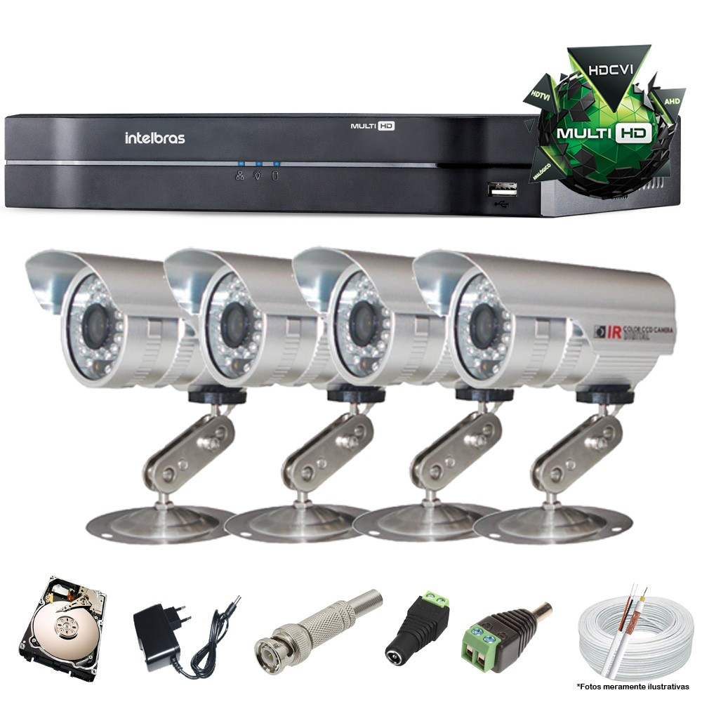 KIT CFTV 4 Câmeras CCD 1/3 3,6MM DVR 4 Canais Intelbras + HD 320GB