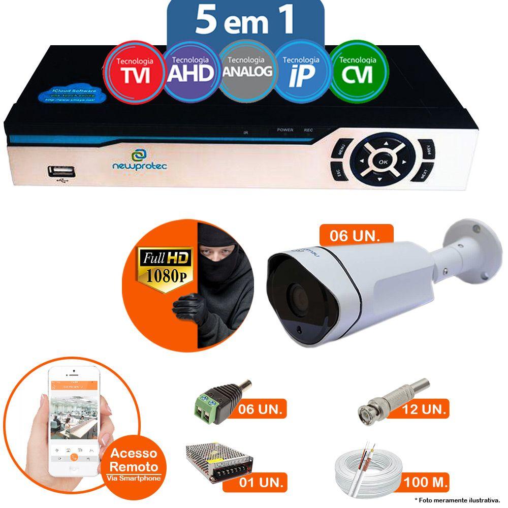 Kit Cftv 6 Câmeras 1080p IR BULLET AHD-H NP 1002 3,6MM 3.0MP Dvr 8 Canais Newprotec 5 em 1 AHD, HDCVI, HDTVI E ANALOGICO E IP + ACESSORIOS