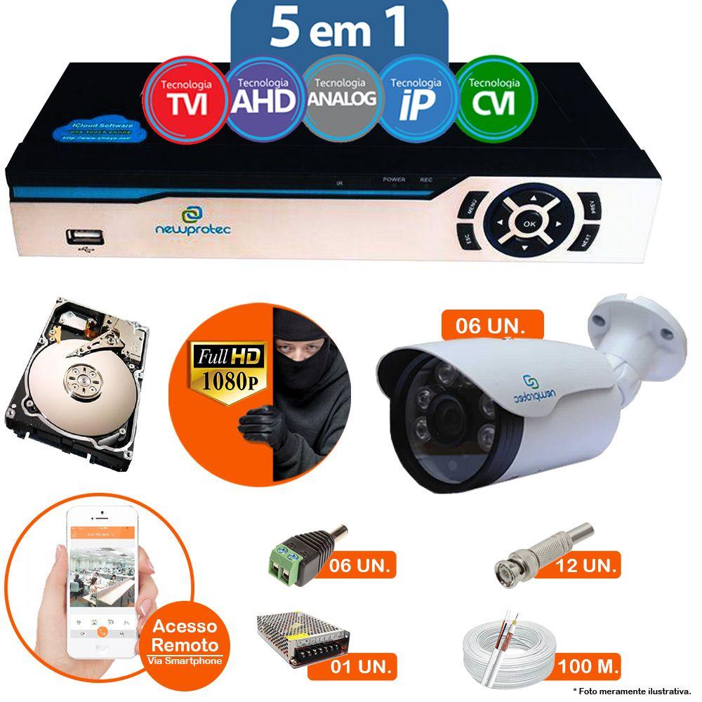 Kit Cftv 6 Câmeras 1080p IR BULLET AHD-H NP 1004 3,6MM 3.0MP Dvr 8 Canais Newprotec 5 em 1 AHD, HDCVI, HDTVI E ANALOGICO E IP + HD 250GB