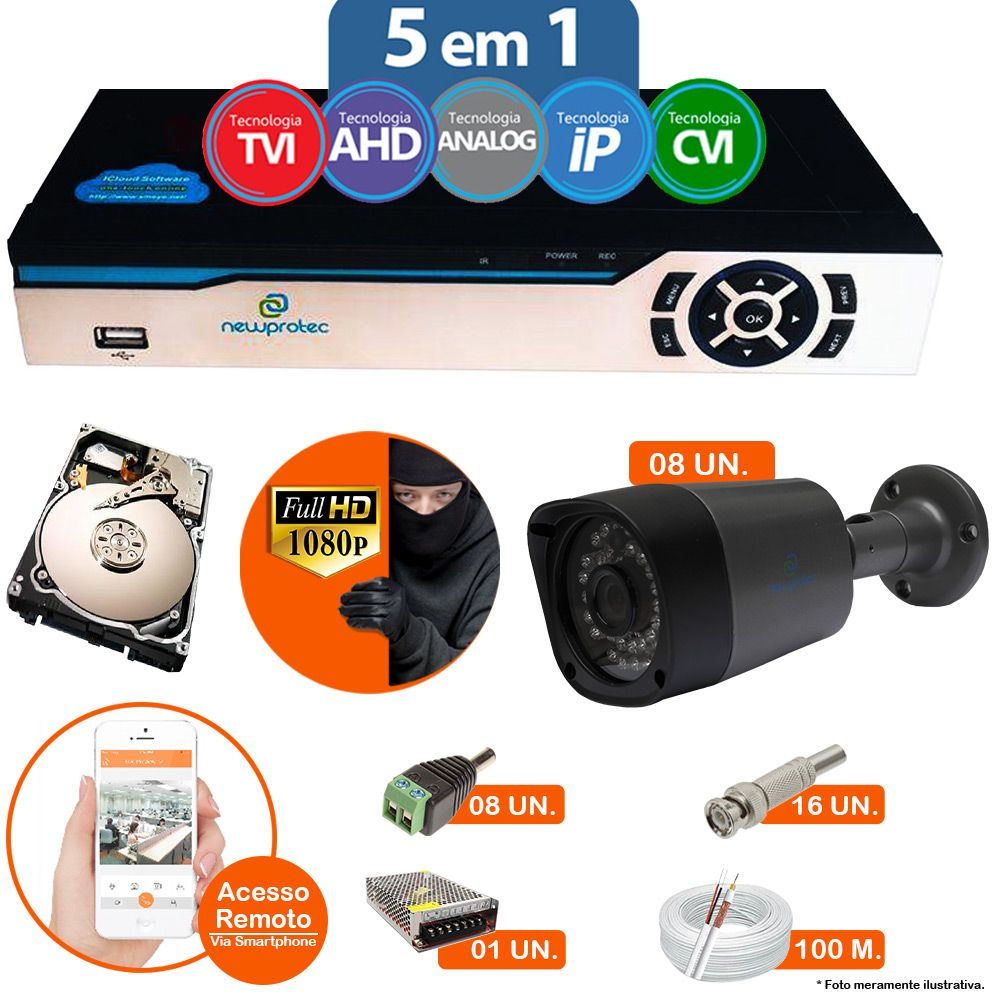 Kit Cftv 8 Câmeras 1080p IR BULLET AHD-H NP 1000 3,6MM 3.0MP Dvr 16 Canais Newprotec 5 em 1 AHD, HDCVI, HDTVI E ANALOGICO E IP + HD 1TB
