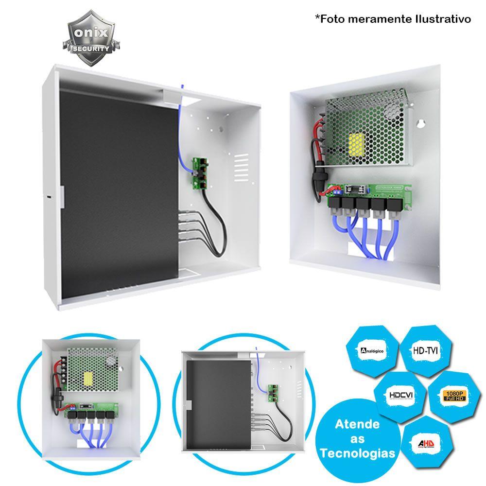 Rack organizador Power Balun HD 4000 Conversor Onix Para até 4 Câmeras em 1 Único Cabo de rede, Compatível com todas as tecnologias HDCVI/HDTVI/AHD/FULLHD/ ANALOGICO