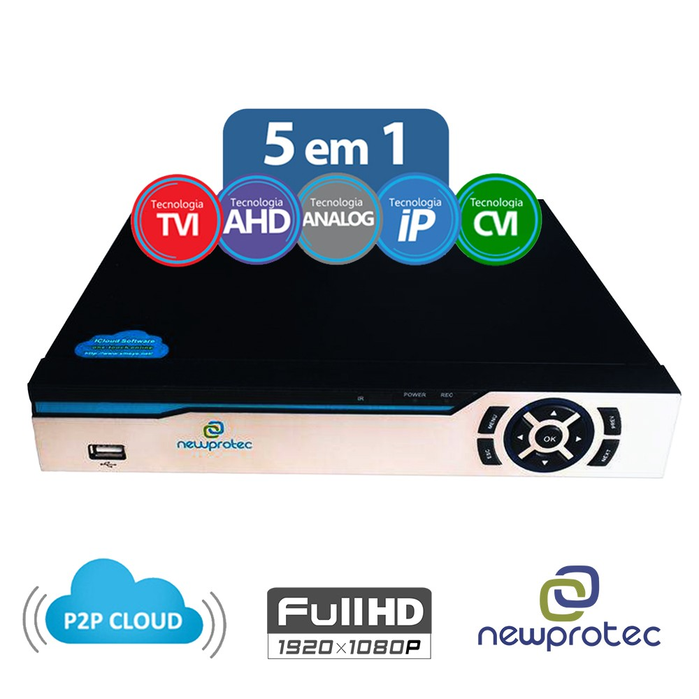 STAND ALONE DVR NEWPROTEC 08CH 5 EM 1 FULL HD 1080P