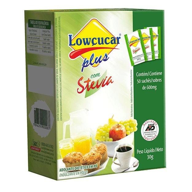 Adoçante Plus com Stevia Sachê 0,6g x 50 - Lowçucar