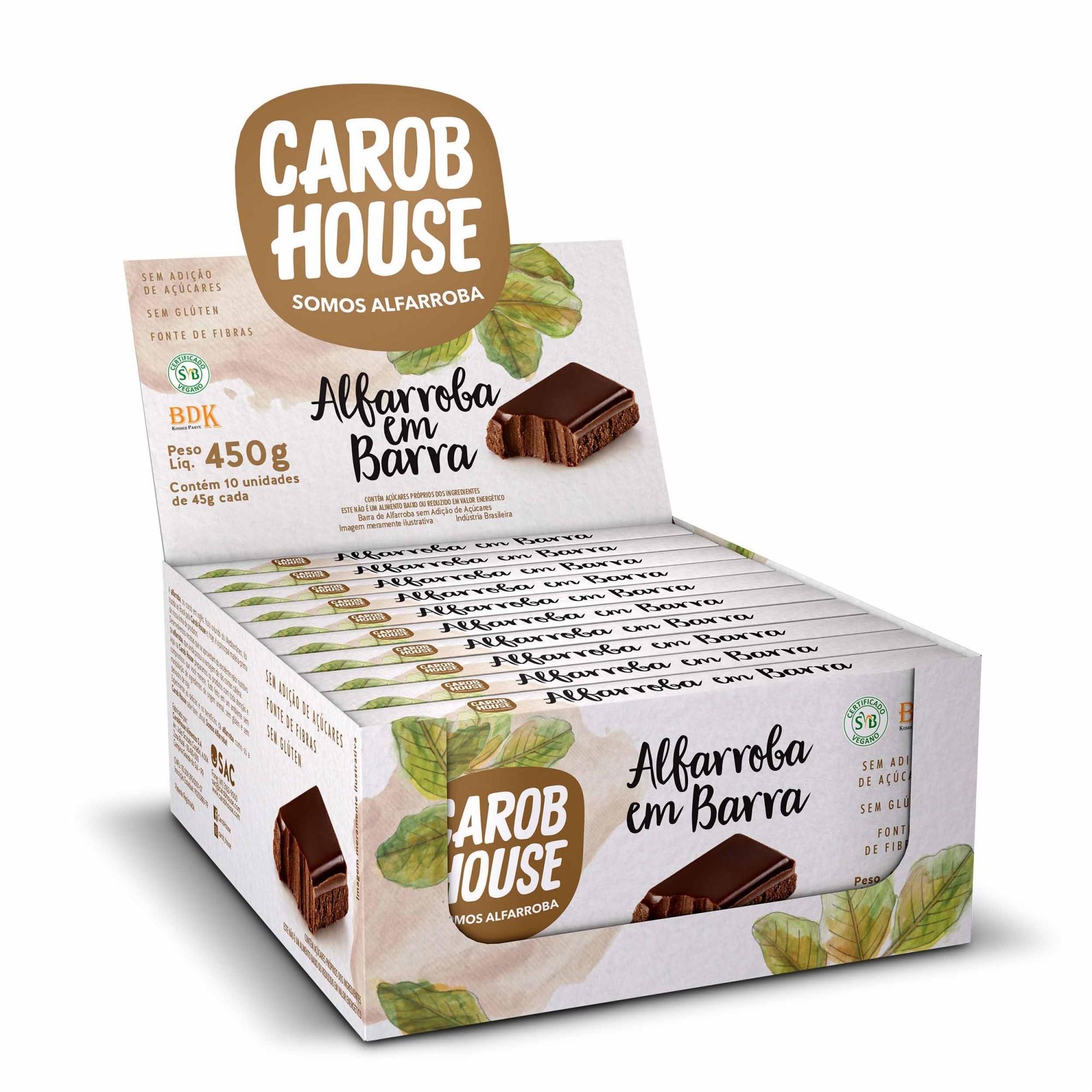 Alfarroba em Barra Sem Açúcar 45g x 10 - Carob House