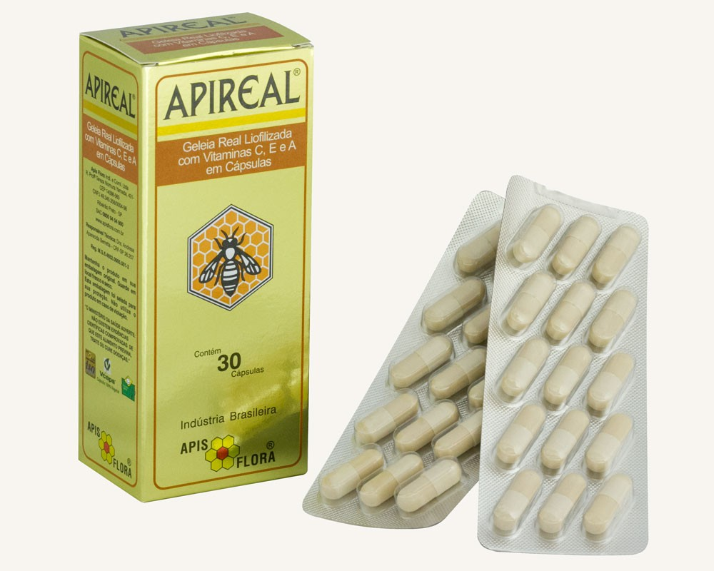 ApiReal Geleia Real Liofilizada 30 Cápsulas - Apis Flora