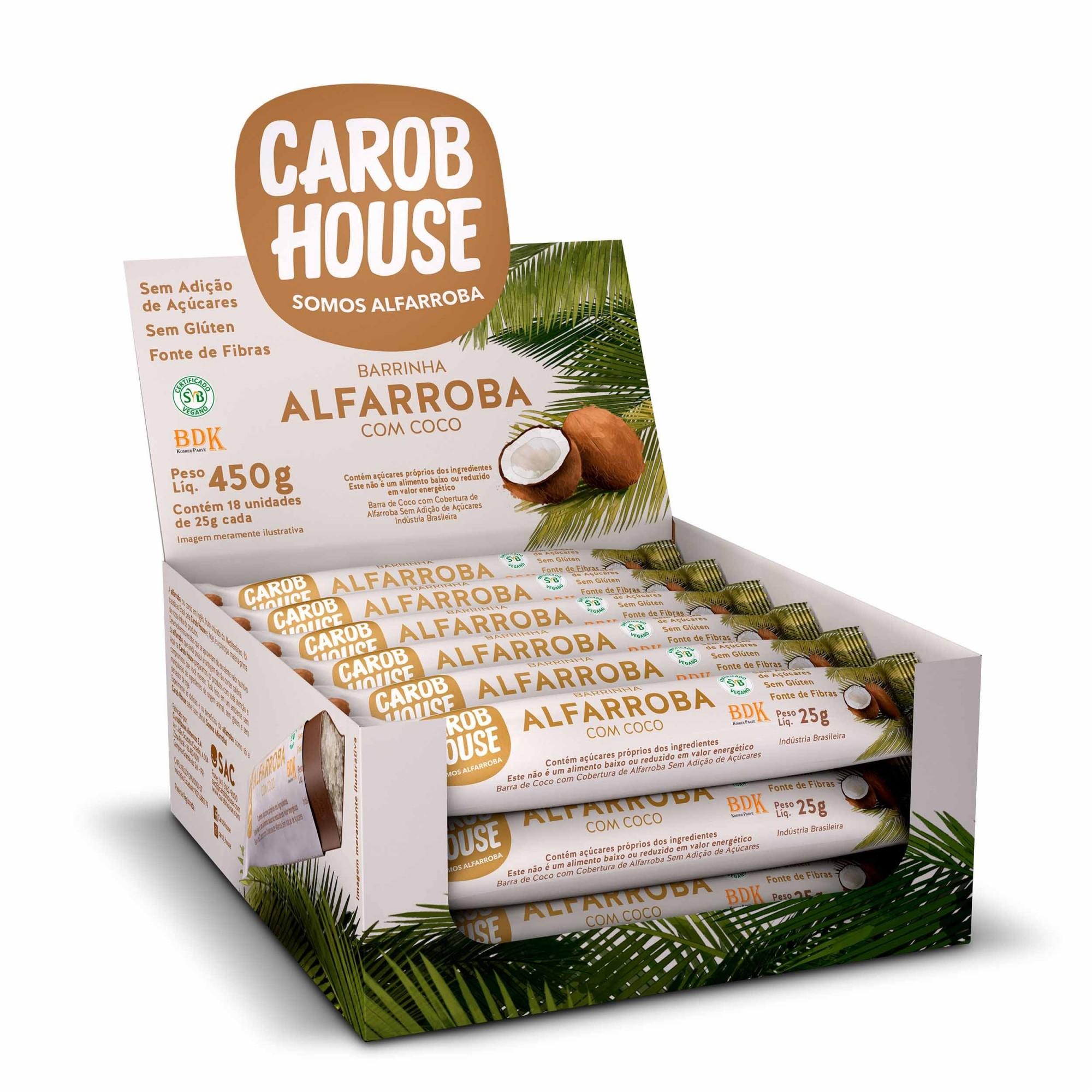 Barrinha  Alfarroba com Coco Sem Açúcar 25g x 18 - Carob House