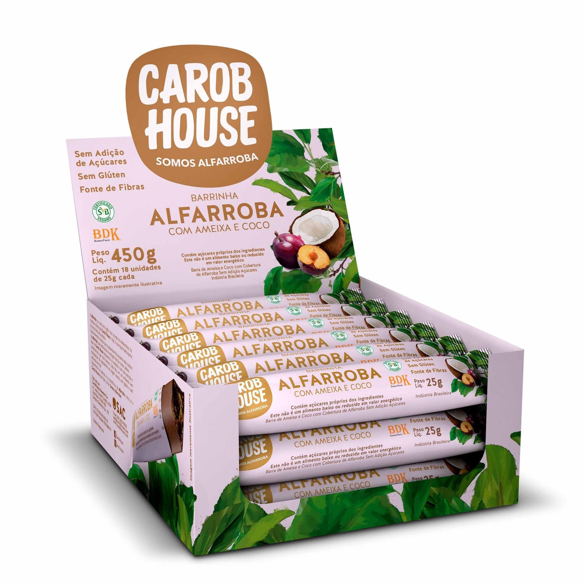 Barrinha de Alfarroba com Ameixa e Coco Sem Açúcar 25g x 18 - Carob House