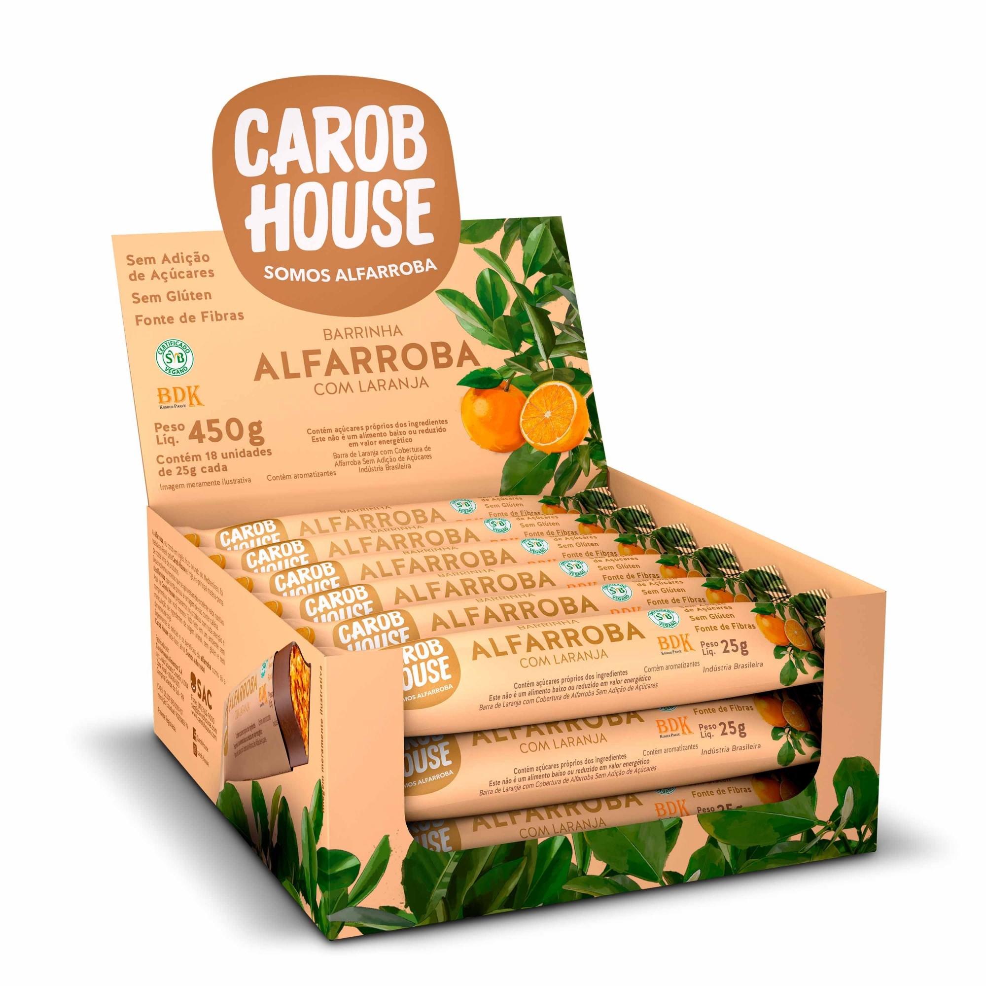 Barrinha de Alfarroba com Laranja Sem Açúcar 25g x 18 - Carob House