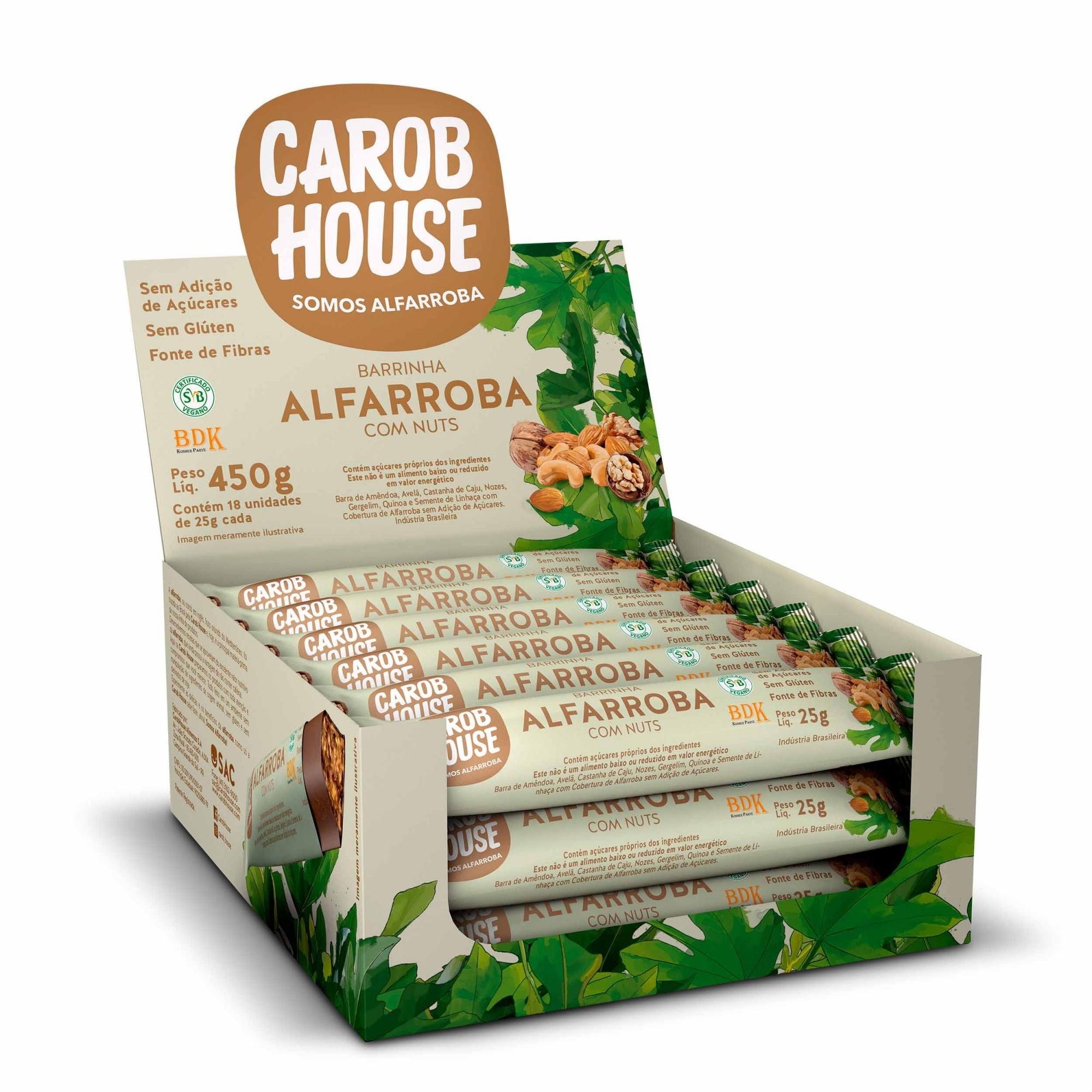 Barrinha de Alfarroba com Nuts Sem Açúcar 25g x 18 - Carob House