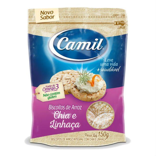 Biscoito de Arroz Integral Sem Glúten Chia e Linhaça 150g - Camil