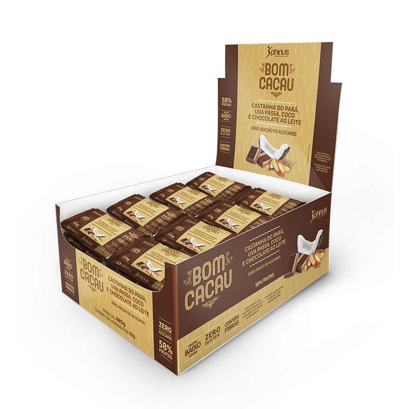 Bom Cacau Castanha do Pará, Uva Passa, Coco e Chocolate ao Leite Zero açúcar 480g - Phinus Life