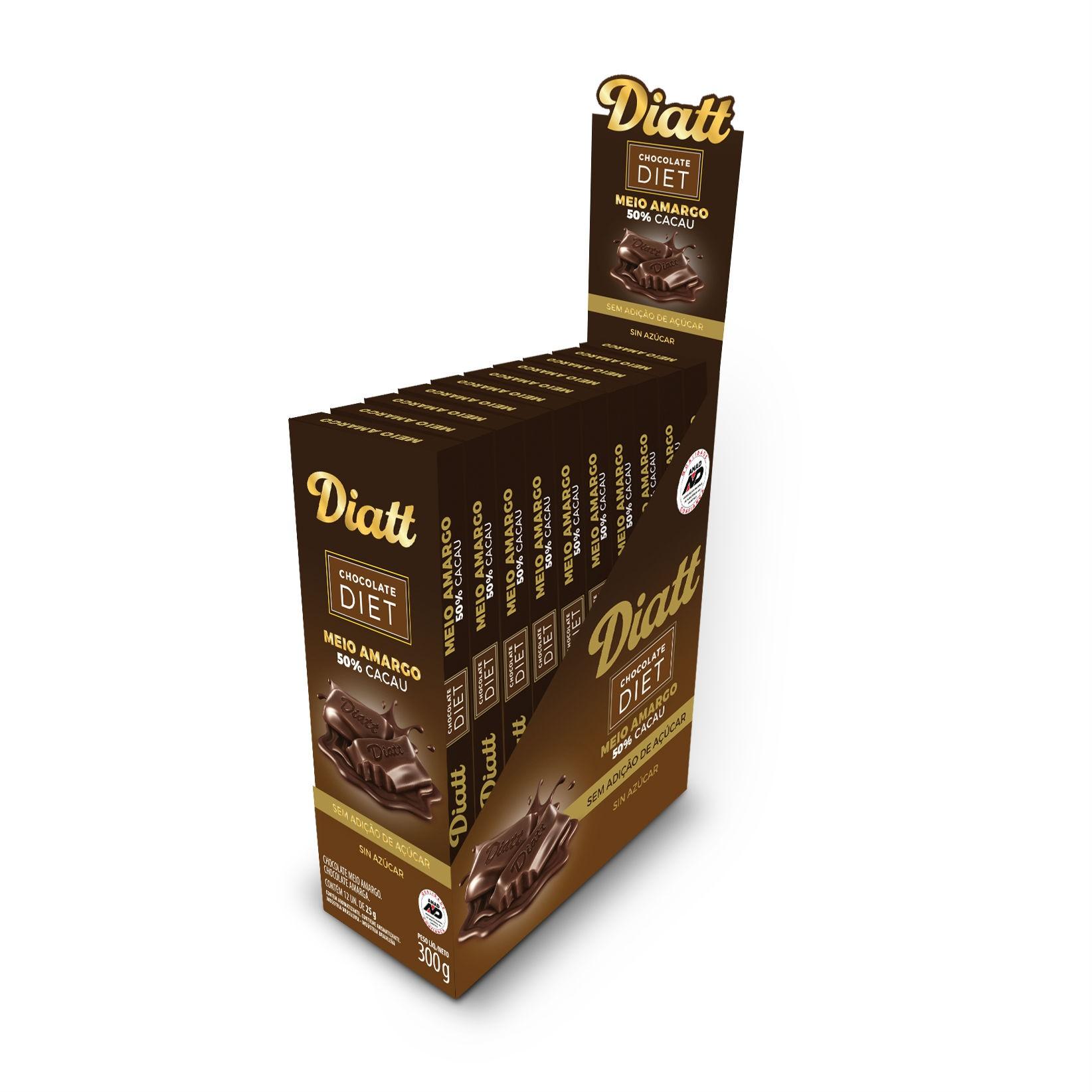 Chocolate Diet Meio Amargo 50% cacau Sem Adição de Açúcar 300g Display 25g x 12 - Diatt