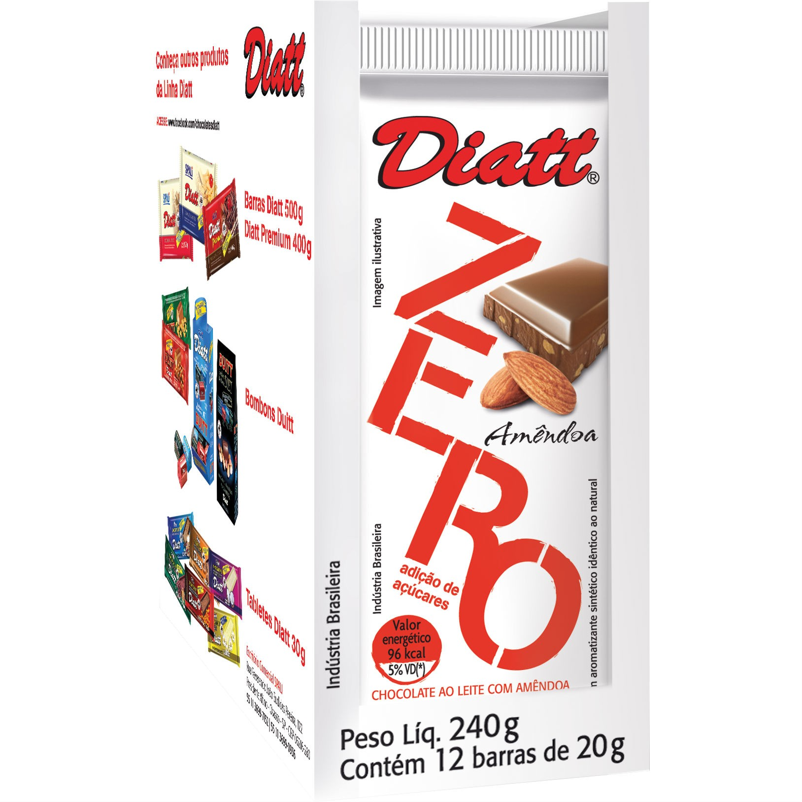 Chocolate Zero Amêndoa 20g x12 display 240g - Diatt