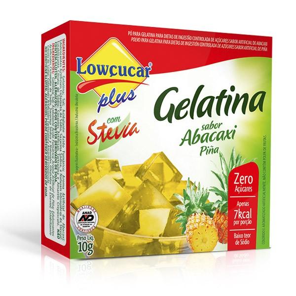 Gelatina Plus com Stevia Abacaxi Zero Açúcar 10g - Lowçúcar