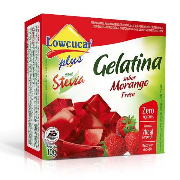 Gelatina Plus com Stevia Morango Zero Açúcar 10g - Lowçúcar
