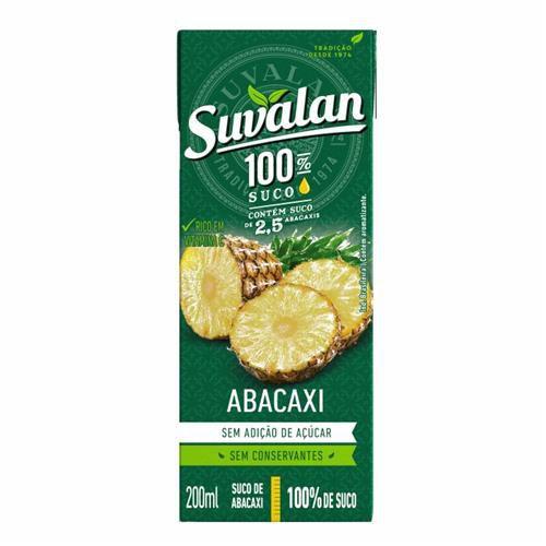 Suco 100% Abacaxi 200ml Sem Adição de Açúcar - Suvalan
