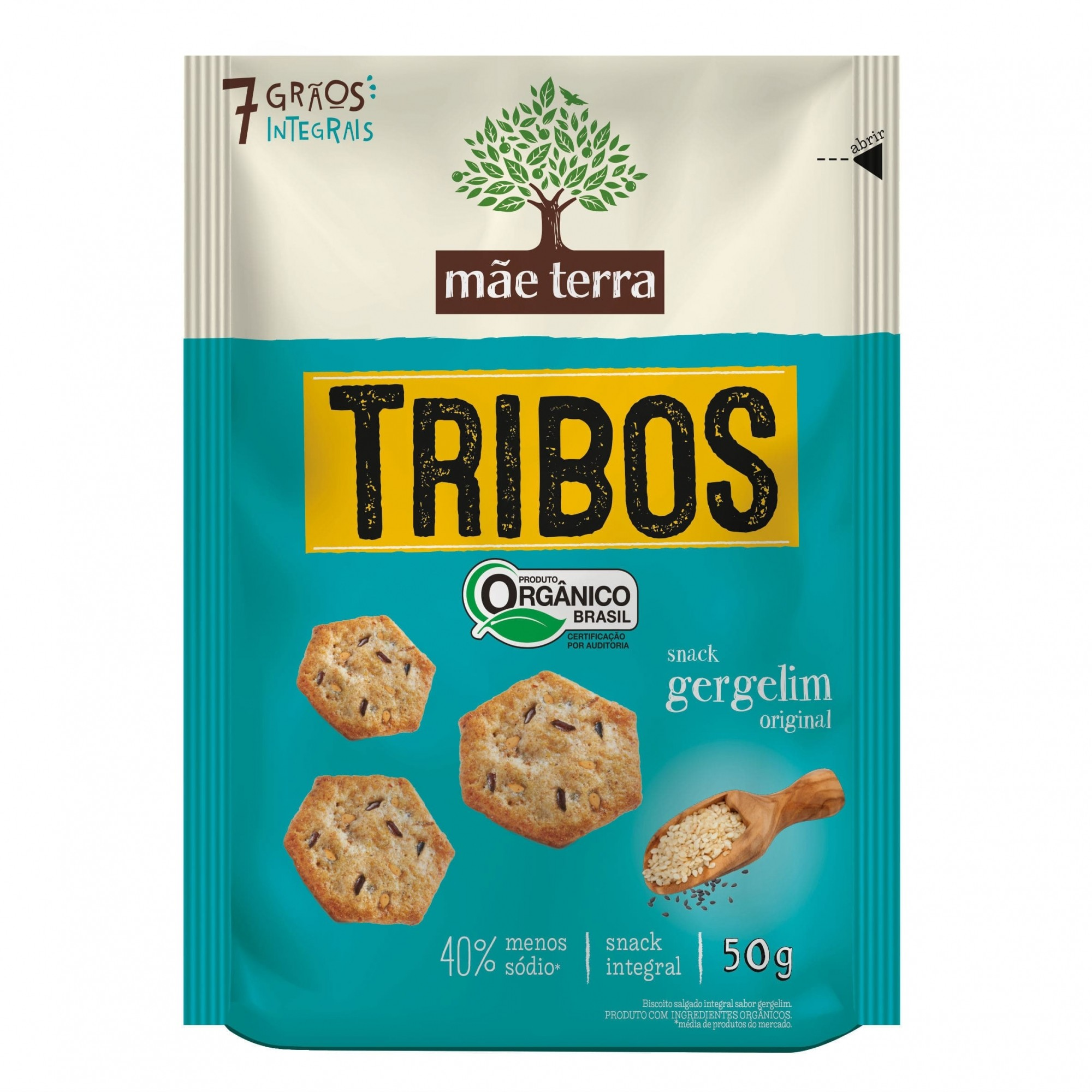 Tribos Snack Orgânico Gergelim Original 50g - Mãe Terra