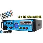 Amplificador de som com 2 canal karaokê e bluetooth - 160 RMS