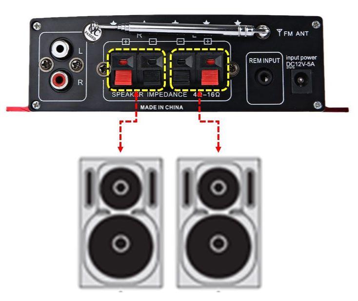 Amplificador de som com 2 canais Kinder 40 RMS
