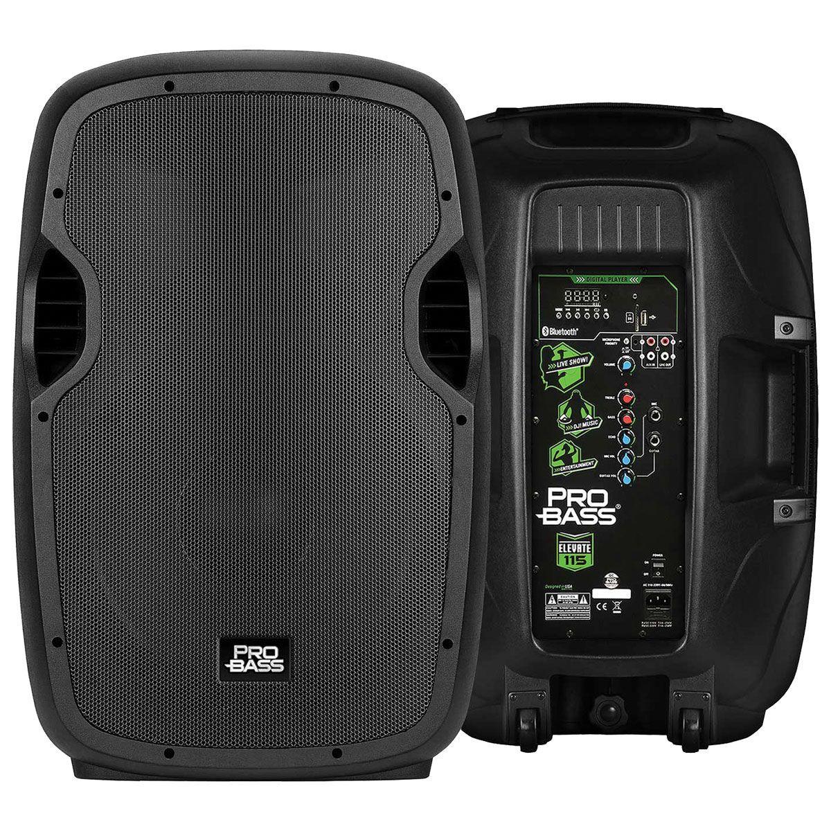 CAIXA AMPLIFICADA ELEVATE 115 USB/SD/BT BLUETOOTH,COM CONTROLE REMOTO 15'' 200W RMS