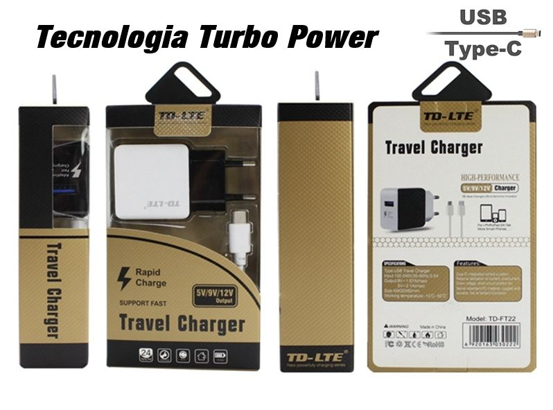 Carregador ogirinal TD-LTE Turbo Tipo C - Com turbo Power