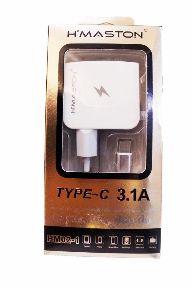 Carregador Original H'maston TIPO C Com 2 Usb 3.1 A