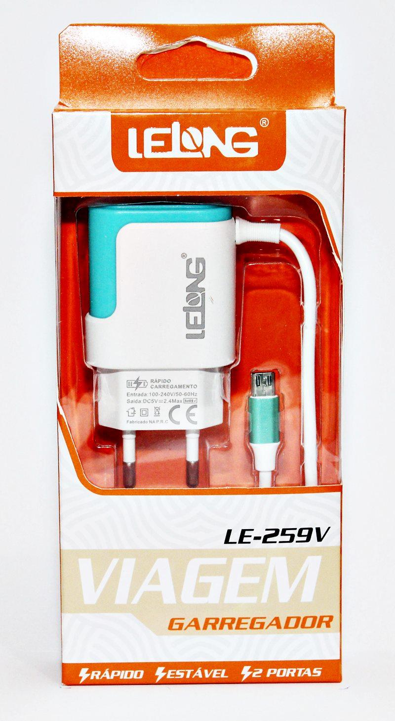 Carregador Para Celular (v8) 2.4a Micro-usb 2 Usb Turbo