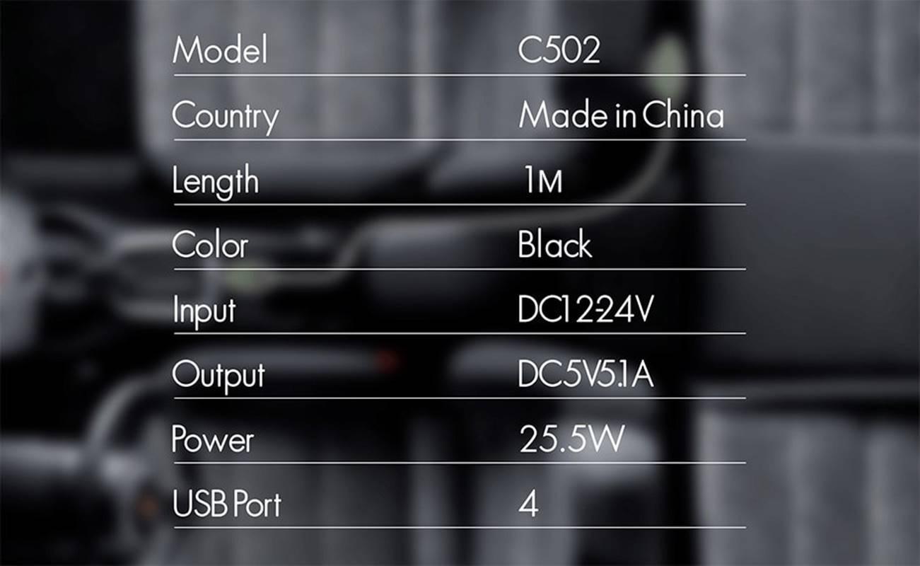 Carregador Veicular 4 Portas USB 5.1V Passageiro + Motorista ideal para uber