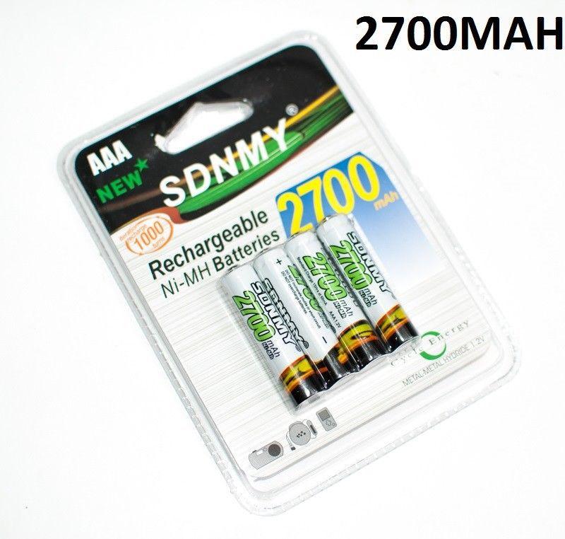 Cartela com 4 pilhas palito Recarregável AAA 2700 mAh