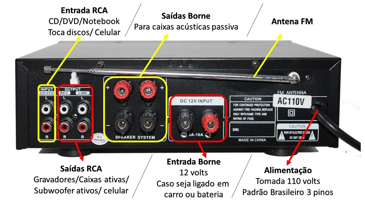Amplificador de som com 2 canal karaokê e bluetooth