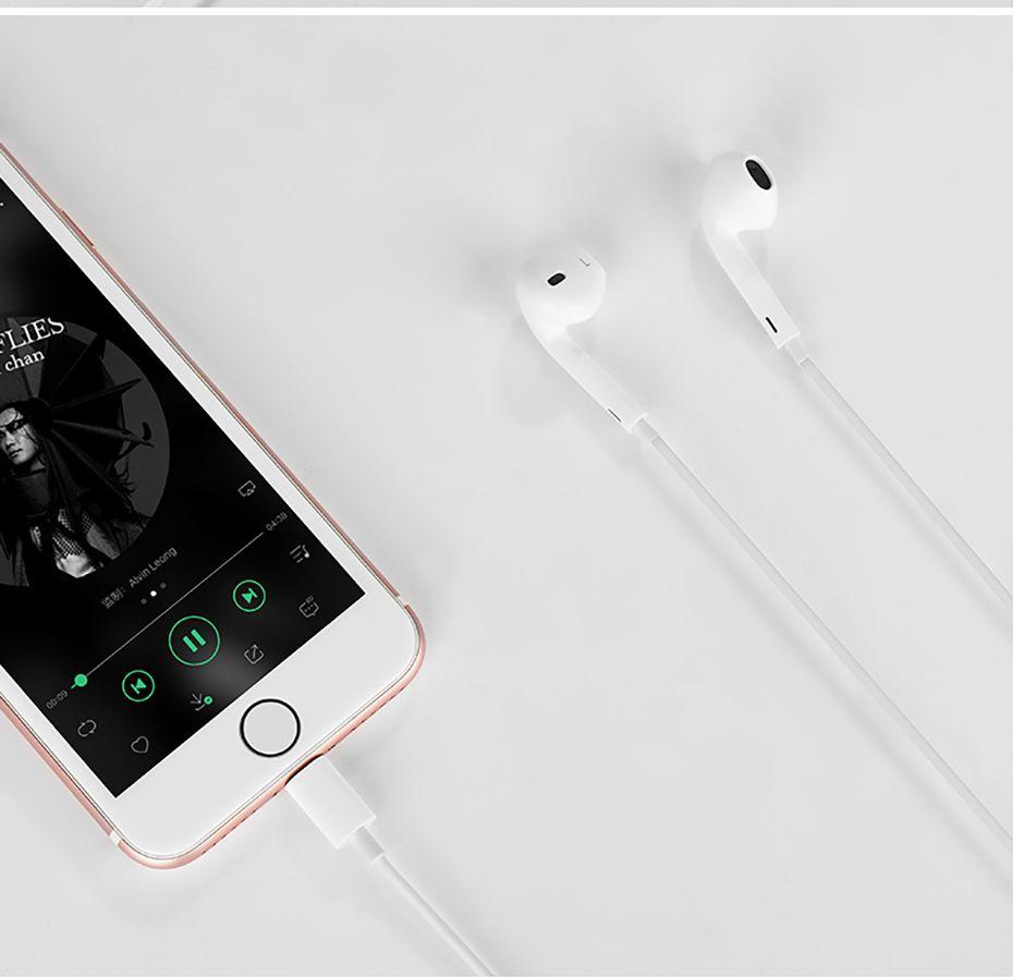 Fone para iphone 8 7 Plus X XR XS Max 10  Earpods Lighting