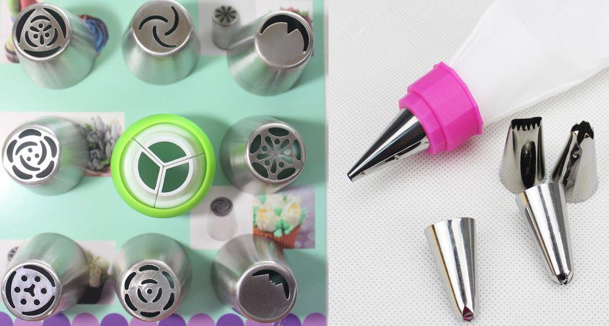 Kit bico russo 10 peças confeitar Aço inox e 5 bicos folha