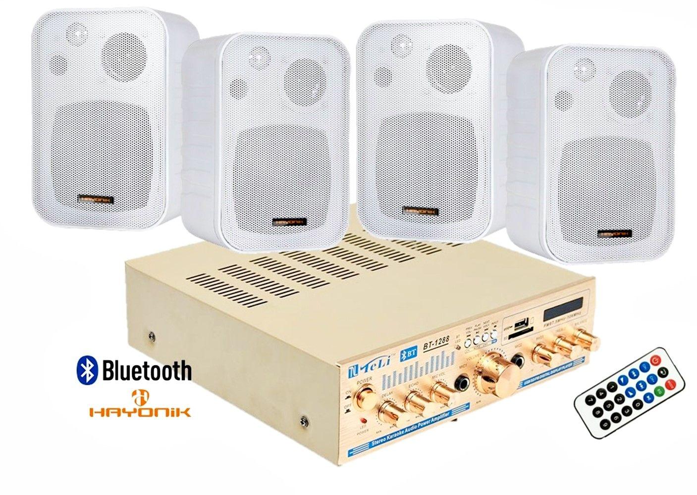 Kit de som ambiente 4 caixas Hayonik branca 3 vias amplificador com Bluetooth kit-D6