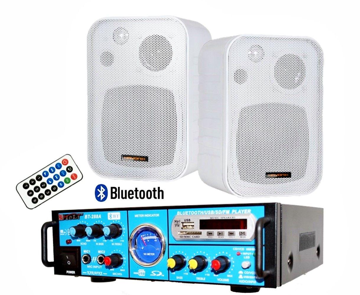 Kit de som ambiente caixas Hayonik branca 3 vias amplificador com Bluetooth kit-E3