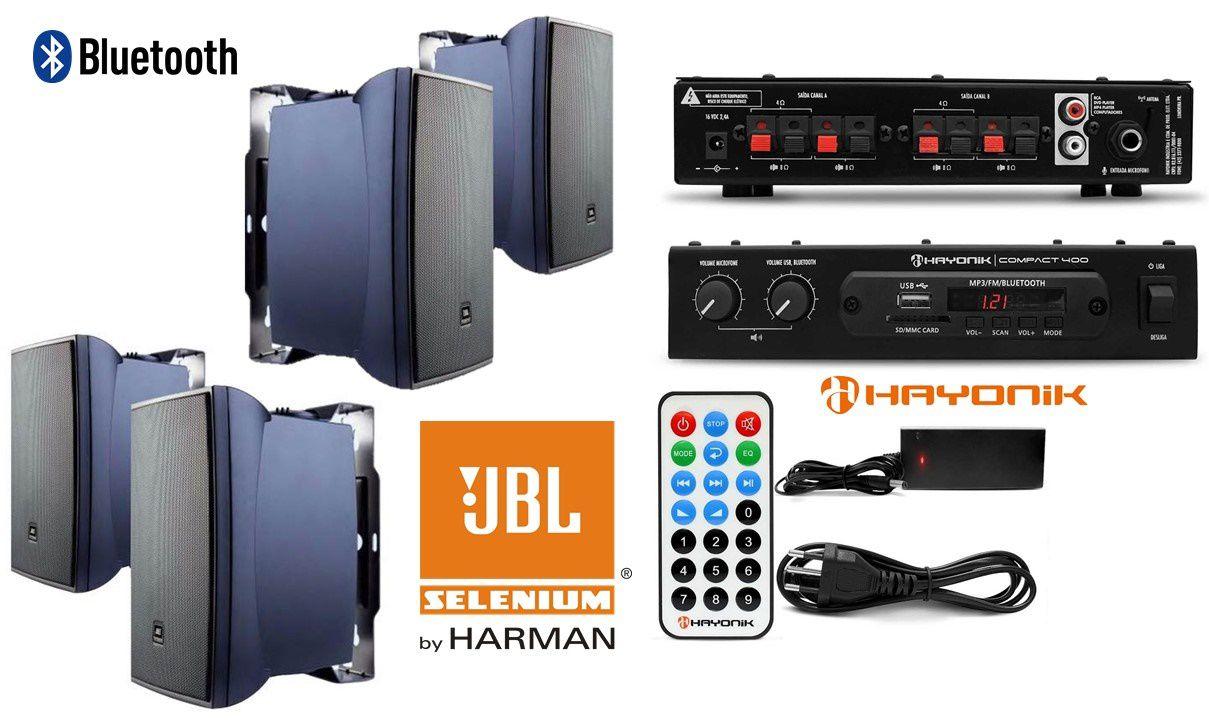 Kit de som ambiente caixas JBL amplificador com Bluetooth H2