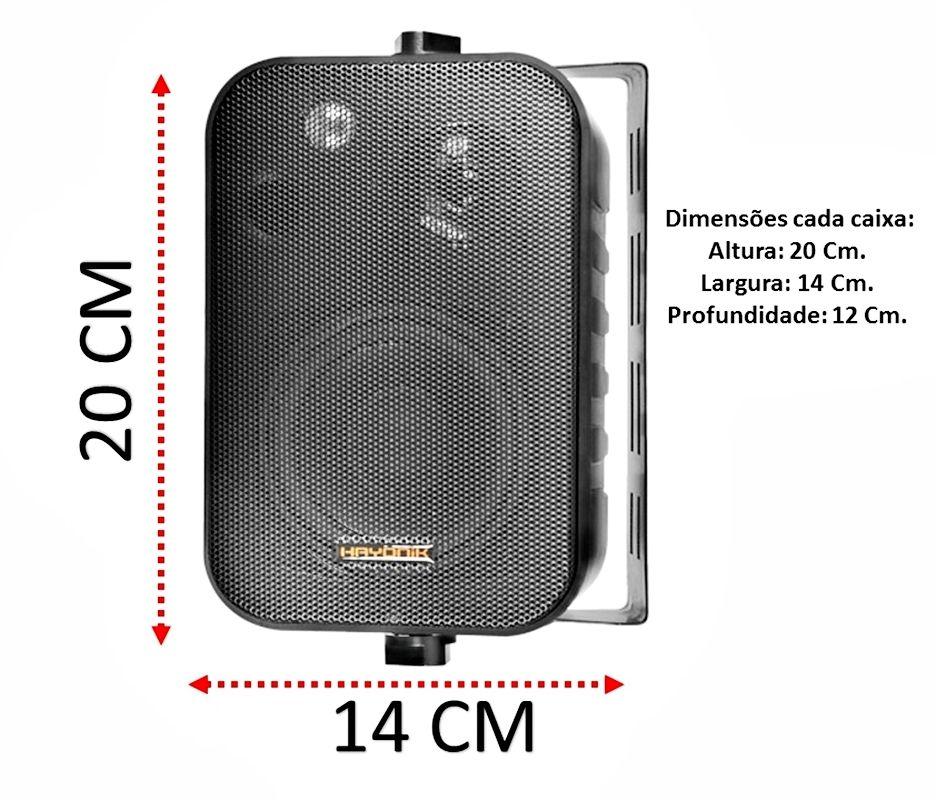 Kit de som ambiente com 4 caixas Hayonik Preta 3 vias amplificador com Bluetooth kit-D5