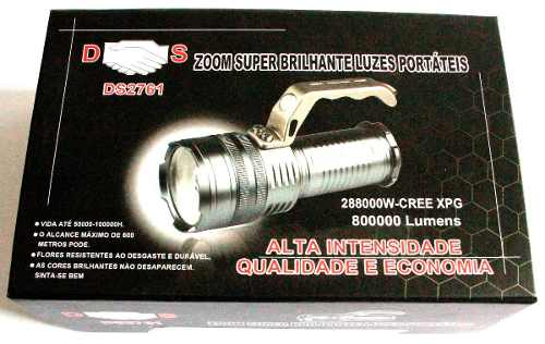 Lanterna Holofote 288000w/800000 Lúmens Recarrega 2 Baterias
