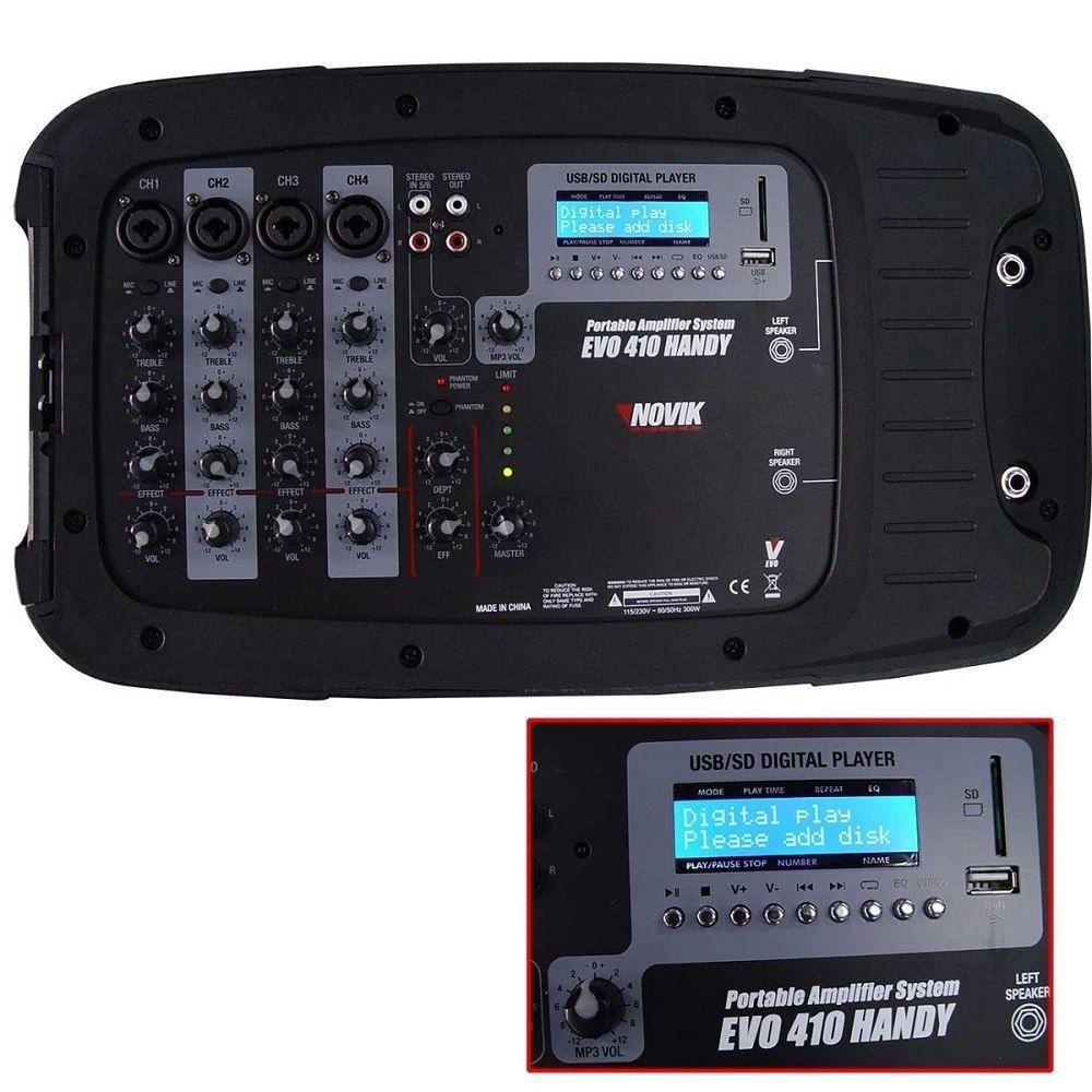KIT MESA AMPLIFICADA 4 CANAIS USB/SD + 2 CAIXA 10'' 150W RMS NKEVO410