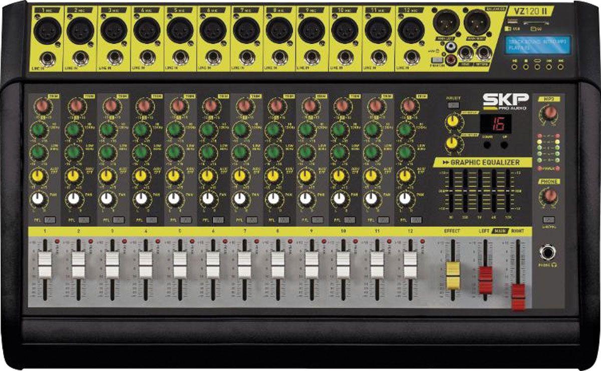 MESA DE SOM AMPLIFICADA 12 CANAIS 500W COM MP3, ENTRADA USB , COM EFEITOS VZ120-II